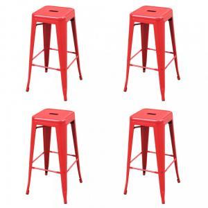 Barové stoličky 4ks oceľ Dekorhome Červená