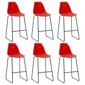 Barové stoličky 6ks plast / kov Dekorhome Červená