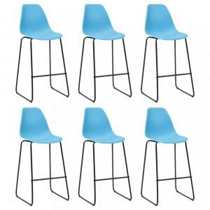 Barové stoličky 6ks plast / kov Dekorhome Modrá