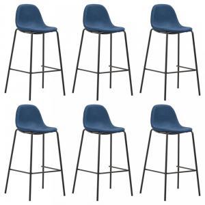 Barové stoličky 6ks textil / kov Dekorhome Modrá