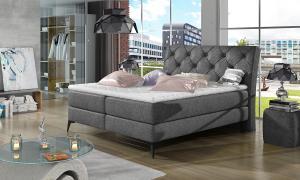 NABBI Lazio 180 čalúnená manželská posteľ s úložným priestorom čierna (Dora 96)