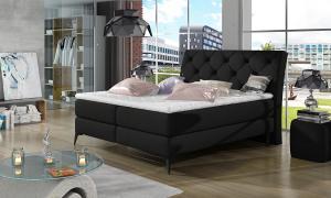 NABBI Lazio 140 čalúnená manželská posteľ s úložným priestorom čierna (Sawana 14)