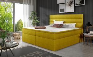 NABBI Spezia 160 čalúnená manželská posteľ s úložným priestorom žltá