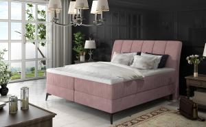 NABBI Altama 140 čalúnená manželská posteľ s úložným priestorom ružová