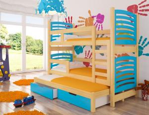 ArtAdr Detská poschodová posteľ Soria Farba: Borovica / modrá