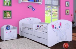 Happy Babies Detská posteľ HAPPY/ 12 Mačička 160 x 80 cm Farba: Biela / biela, Prevedenie: L03 / 80 x 160 cm / bez úložného priestoru #1 small