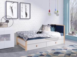 ArtBed Detská posteľ Zara 90/200 Farba: Modré čelo - Quartz 606