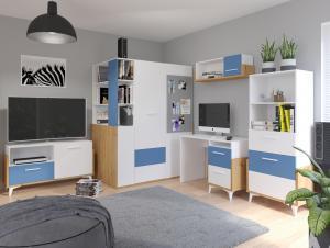 MEBLOCROSS Hey študentská izba dub artisan / biela / modrá