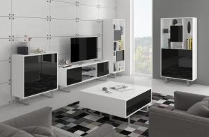 MEBLOCROSS King obývacia izba biela / čierny lesk