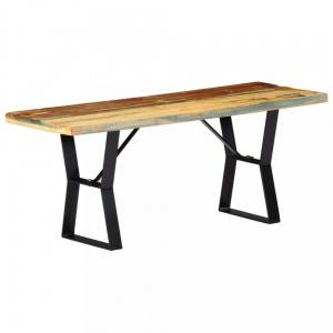Lavica 110 cm hnedá / čierna Dekorhome Recyklované drevo