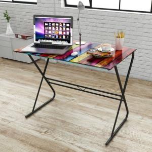 Sklenený písací stôl viacfarebný Dekorhome