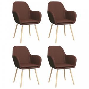 Jedálenská stolička 4 ks látka / bukové drevo Dekorhome Hnedá