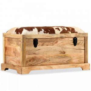 Úložná lavice 80 cm pravá koža / drevo Dekorhome Biela / hnedá