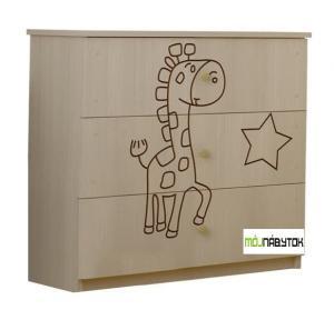ArtBoo Komoda so žirafkou/ Dub sonoma BOO: Bezfarebný