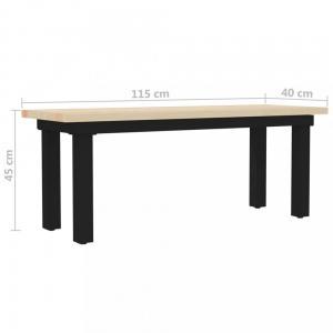 Lavica hnedá / čierna Dekorhome 115 cm