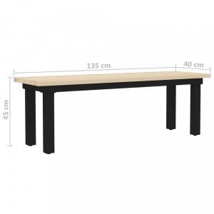 Lavica hnedá / čierna Dekorhome 135 cm