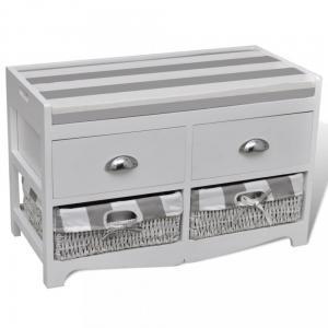 Úložná lavice biela / sivá Dekorhome