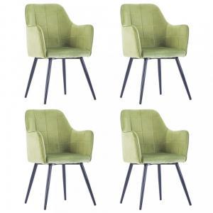 Jedálenská stolička 4 ks zamat / oceľ Dekorhome Zelená