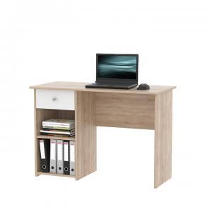 PC stôl, dub sonoma/biela, KARLIS