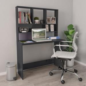 Písací stôl s horným regálom Dekorhome Sivá lesk