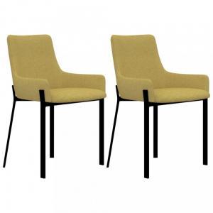 Jedálenská stolička 2 ks látka / oceľ Dekorhome Žltá