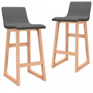 Barové stoličky 2 ks látka / buk Dekorhome Tmavosivá