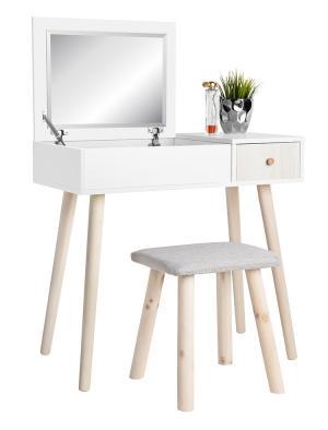 Toaletný stolík s taburetom biela / drevo