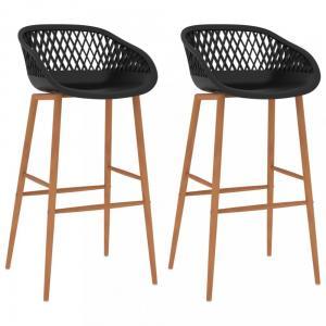 Barové stoličky 2 ks plast / kov Dekorhome Čierna / hnedá