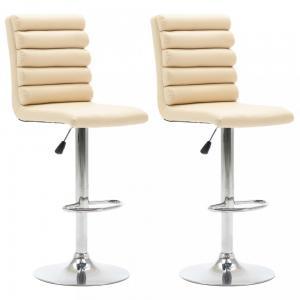 Barové stoličky 2 ks umelá koža / chróm Dekorhome Krémová