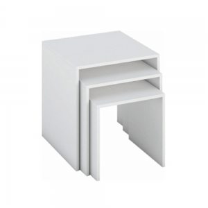 Sada troch príručných stolíkov, biela, SIPANI NEW