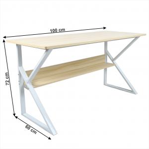 Pracovný stôl s policou TARCAL dub / biela Tempo Kondela 100x60 cm