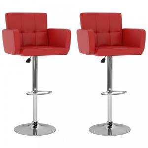 Barové stoličky 2 ks umelá koža / kov Dekorhome Červená