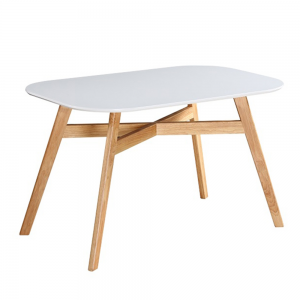 Jedálenský stôl, biela/prírodná, CYRUS NEW, poškodený tovar