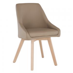 Jedálenská stolička, béžová ekokoža/buk, TEZA, rozbalený tovar