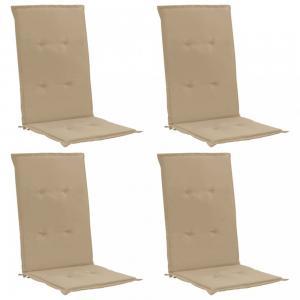Podušky na záhradné stoličky 4ks Dekorhome Béžová