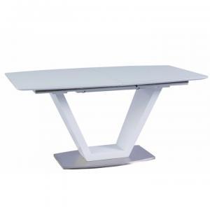 Jedálenský stôl, rozkladací, biela extra vysoký lesk/oceľ, PERAK, poškodený tovar