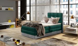 NABBI Alessandra 90 L čalúnená jednolôžková posteľ tmavozelená / svetlosivá