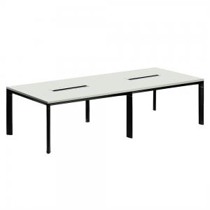 Rokovací stôl, biela/čierna, DALY