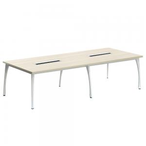 Rokovací stôl, dub prírodný/biela, DOLEN