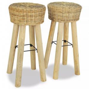Barové stoličky 2 ks prírodný ratan / teak Dekorhome