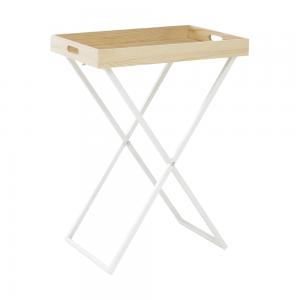 Servírovací stolík, prírodná/biela, BELENE, rozbalený tovar