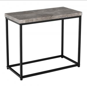 Príručný stolík, čierna/betón, TENDER, rozbalený tovar