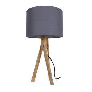 TEMPO KONDELA Stolná lampa, sivá/prírodné drevo, LILA Typ 2 LS2002